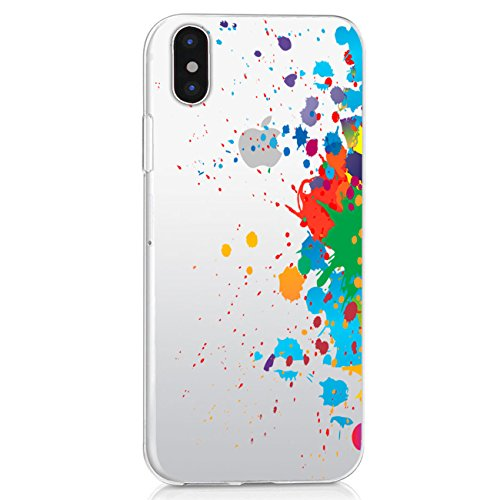 Case iPhone X TPU Soft Wolf Printed Silicone Shock-absorption Gel Bumper Cute Patterns Protective (splash-ink)