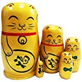 Cute Animal Fortune Cat Yellow Handmade Wooden Russian Nesting Dolls Matryoshka Dolls Set 5 Pieces For Kids Toy Christmas Gifts Home Decoration