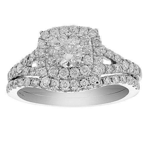 Diamond Engagement Wedding Set - 1 CT Diamond Halo Prong Set Wedding Engagement Ring Set 14K White Gold in Size 7