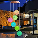Topspeeder Color Changing Solar Power Wind Chime Spiral Spinner Crystal Ball Wind Mobile Portable Waterproof Outdoor Decorative Romantic Wind Bell Light Patio Yard Garden Home Pathway
