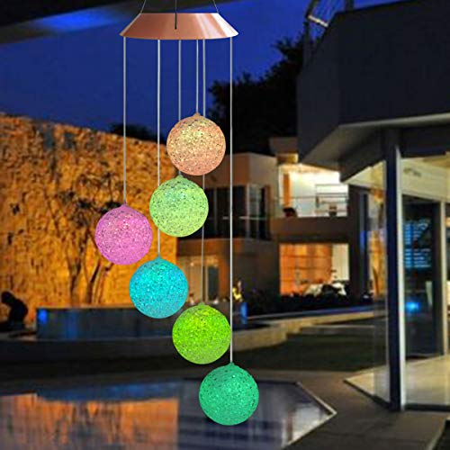 Topspeeder Color Changing Solar Power Wind Chime Spiral Spinner Crystal Ball Wind Mobile Portable Waterproof Outdoor Decorative Romantic Wind Bell Light Patio Yard Garden Home Pathway by Topspeeder