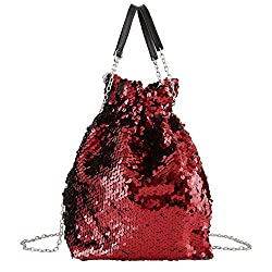 Reversible Sequin Crossbody With Drawstring Chain Strap