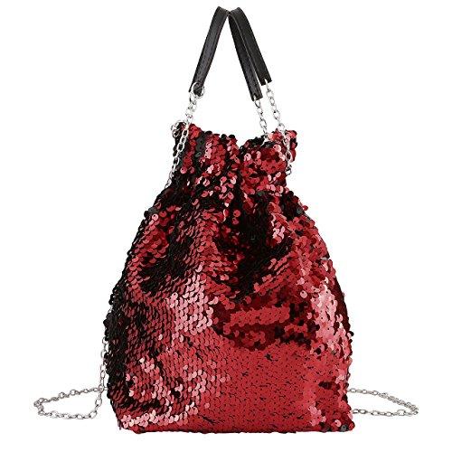 CHIC DIARY Women Bucket Bag Reversible Mermaid Sequin Handbag Drawstring Chain Crossbody Bag (Red)