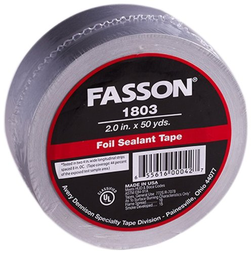 Avery Dennison Fasson 1803 Aluminum Foil HVAC Duct Tape, UL 723, Silver, 150 ft x 2.0 in