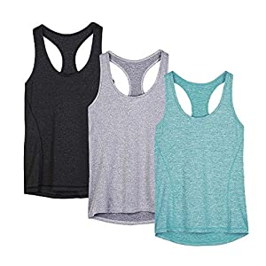 icyZone Activewear Running Workouts Clothes Yoga Racerback Tank Tops for Women (L, Black/Granite/Green)