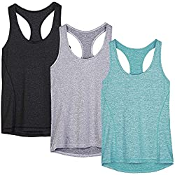 icyzone Workout Tank Tops for Women - Racerback Athletic Yoga Tops, Running Exercise Gym Shirts(Pack of 3)(L, Black/Granite/Green)