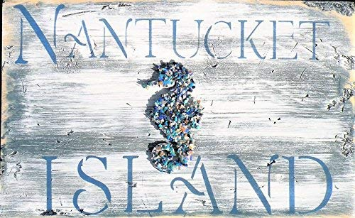 (25×56cm Nantucket Island Rustic Beach Painting Distressed White Washed Blue Nantucket Nautical Worn Wood Sign Massachusetts Beach Decor Seahorse cb676144)