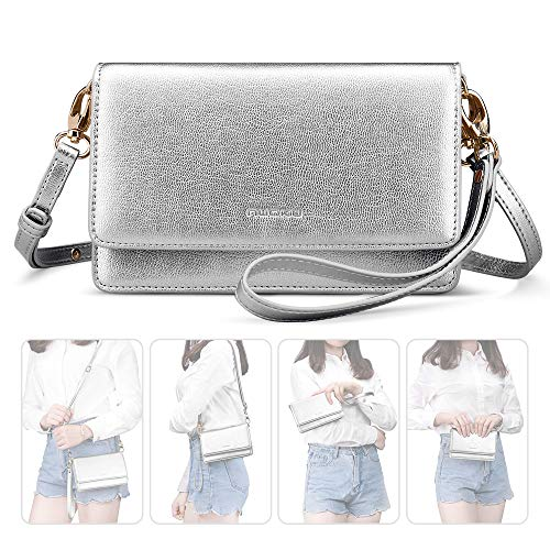 nuoku Women Small Crossbody Bag Cellphone Purse Wallet with RFID Card Slots 2 Strap Wristlet(Max 6.5'') … (Silver)