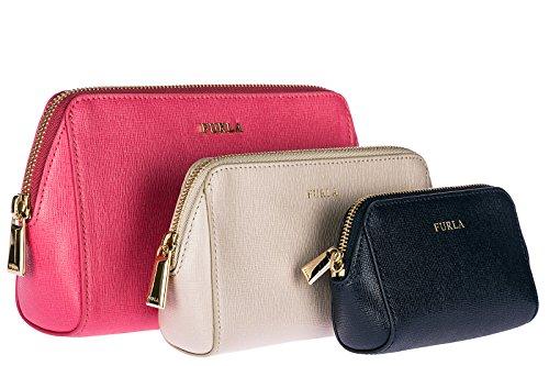 Furla Pochette Handtasche Damen Tasche Leder Clutch Bag rosa