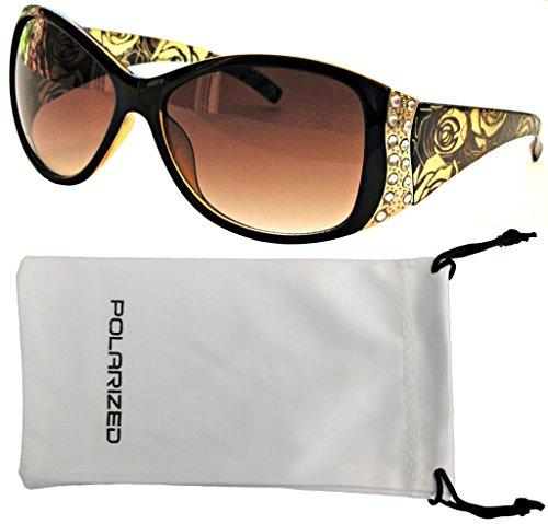 Vox Women's Polarized Sunglasses Designer Fashion Rhinestone Vintage Floral Eyewear - Amber Frame - Amber Lens