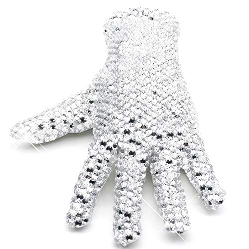 MJ Michael Jackson Shining Crystal Billie Jean Glove for Collection Double Sides Rhinestone Gloves (Right hand-free size) -
