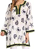 Sakkas Fawn Tunic Blouse Top With Printed Pattern And Multi Toned Trims
