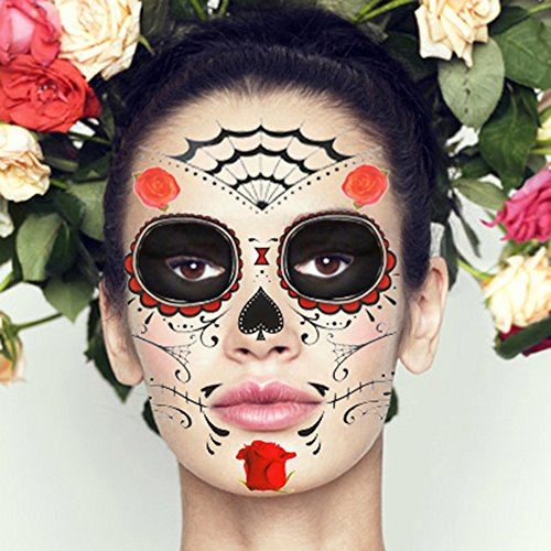 (COKOHAPPY 2 Kits Temporary Face Tattoo Day of the Dead Red Rose Floral Sugar Skull for Men)