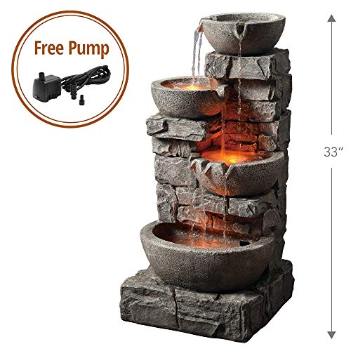 - Peaktop 201601PT Outdoor Garden Water Stacked Stone 3 Tier Bowls Waterfall Fountain with LED Light, 33