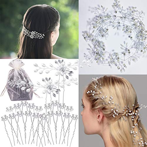 REVEW 23PCS Wedding Rhinestones Hair Vine Accessories, Bridal Headband Wedding Headpieces Hair Accessories for Brides Hair Pieces for Wedding(100cm/39.37inchs)