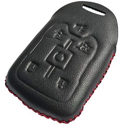Coolbestda Leather 6buttons Key Fob Remote Cover Case Protector Keyless Skin Jacket Holder for 2020 2016 2015 Chevrolet Suburban LTZ Tahoe GMC Yukon Acadia Black: Automotive