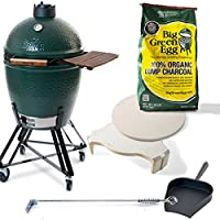 Profi Starter Set Medium Big Green Egg Keramikgrill XXL Keramik grün Ceramic Smoker Grill-Set Garten ✔ Lenkrollen mit Bremse ✔ Deckel ✔ Seitentisch rechts ✔ oval ✔ rollbar ✔ stehend grillen ✔ Grillen mit Holzkohle ✔ mit Station ✔ mit Rädern