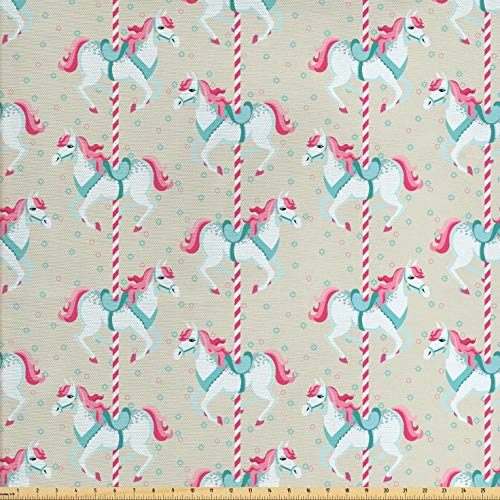 Ambesonne Toy Horse Fabric by The Yard, Merry Go Round Amusement Park Carousel Toy Ride Roundabout Children Park, Decorative Fabric for Upholstery and Home Accents, 3 Yards, Beige Seafoam Pink