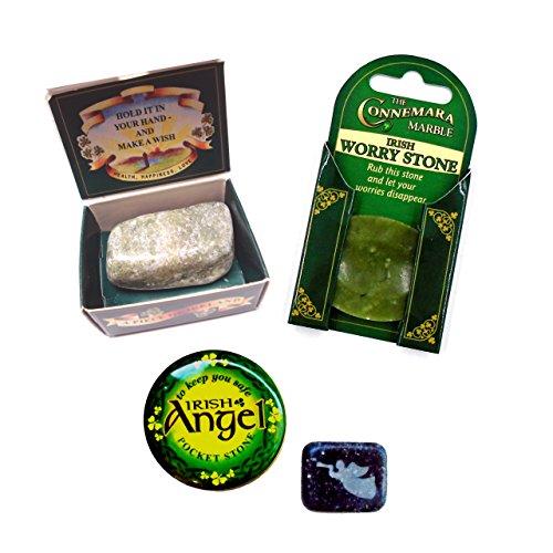 Ltd Irish Connemara Marble: SET of 3 Angel & Wishing & Worry Stone (Connemara Marble Set)