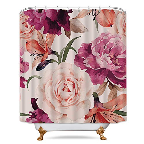 (Pink Rose Flower Shower Curtain Set Floral Blossom Spring Season Home Bathroom Decor Fabric Panel Polyester Waterproof 72x72 Inch with 12-Pack Plastic Shower Hooks)