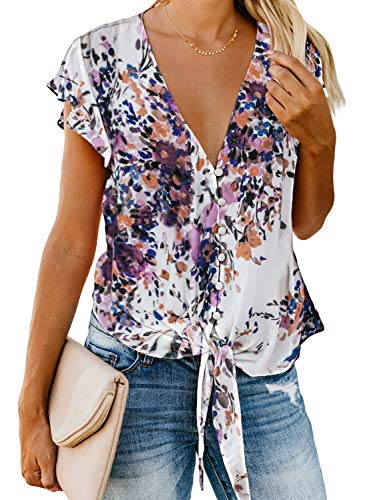 Asvivid Womens Elegant Button Up V Neck Boho Floral Printed Tops Ruffle Cap Sleeve Tshirt Loose Tops Plus Size 1X Purple ()
