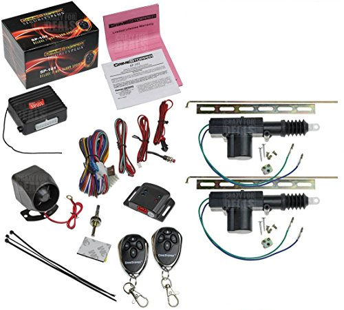 CrimeStopper SP-101 Car Security Alarm & Keyless Entry System with (2) Car Power Door Lock Actuator Motors