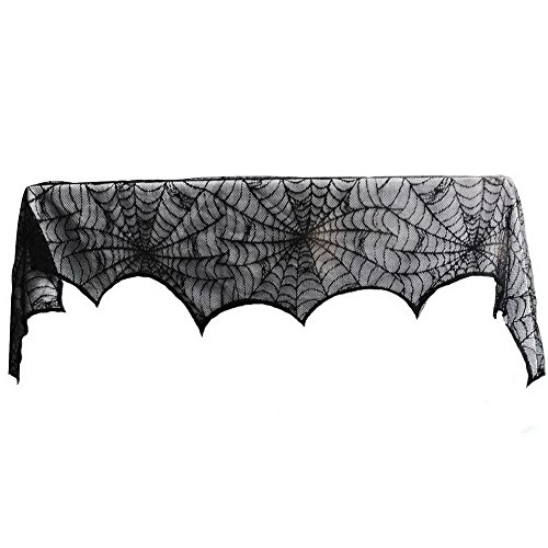 New Journey 18 x 96 inch Halloween Decoration, Black Lace Spider Web Fireplace Scarf |Mantel Scarf|Halloween|Dinner & Spooky Meals, Black]()