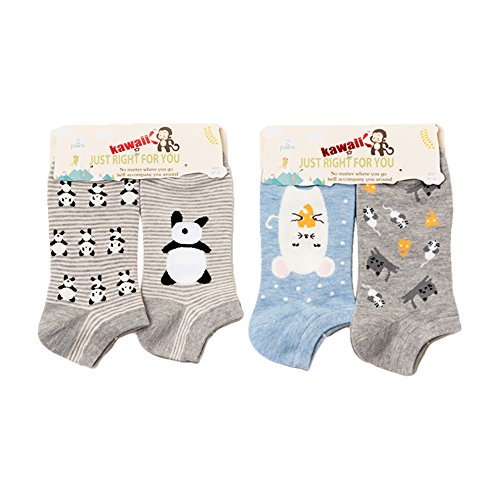 4 Pair/Lot Girls and Women's Spring Cute Cartoon Penguin Panda Breathable Crew Socks Cotton No Show/Low Cut Colorful Socks ()