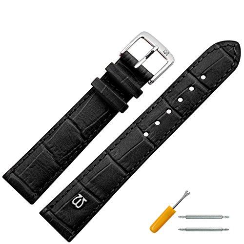 Uhrenarmband 20 mm Leder schwarz matt Prägung, Alligator - MADE IN GERMANY - Uhrband mit Marburger Logo, in matter Farbe & Alligatoroptik - Marburger Uhrenarmbänder seit 1945 - matt schwarz / silber