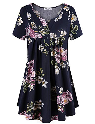 (Anna Smith Swing Blouses for Women Floral Pattern Elegant Dress Short Sleeve V Neck Casual Baggy Tunic Comfortable Handkerchief Hem Breathable Comfort Polyester Outer Wear Tops Navy1-XXL)