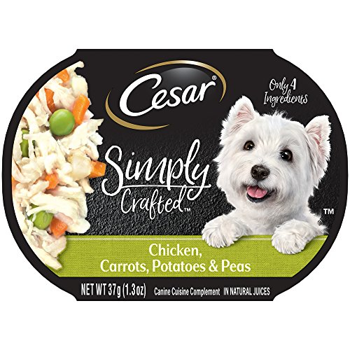 Cesar Simply Crafted Adult Wet Dog Food Cuisine Complement, Chicken, Carrots, Potato & Peas, (Pack Of 10) 1.3 Oz. Tub