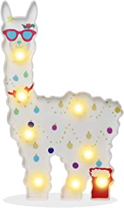 Pooqla Alpaca Llama Night Light, Light Up Llama Decor Signs Kids Gifts Home Table Wall Decoration for Girls Room, Bedside(White with Glasses)