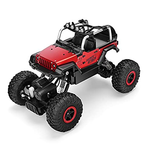 SZJJX RC Cars 1/18 Scale 4WD High Speed Vehicle 12MPH+ 2.4Ghz Radio Remote Control Off Road Racing Monster Trucks Fast Electric Race Desert Buggy with LED Light Vision Metal Shell - Red Monster Truck