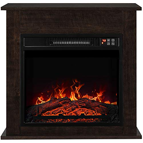 """BELLEZE 1400W 18"""" Deluxe Electric Fireplace Mantel Heater Insert Freestanding Portable Stove with Remote Control, Dark Wood"""