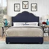 Crosley Preston Upholstered Queen Panel Bed in Navy
