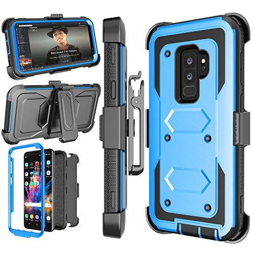 Njjex for Galaxy S9 Plus Case, for Samsung Galaxy S9+ S9 Plus Case, [Nbeck] Shockproof Heavy Duty Rugged Holster Locking Swivel Belt Clip Full Body Hard Shell Cover Phone Case & Kickstand [Blue]