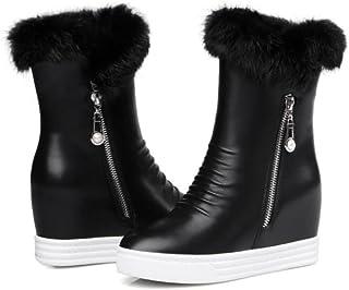 NVXUEZIX Zapatos de Mujer Premium PU 3.5cm Tacones Altos Cremallera de Piel sintética Suela de Goma Botas de Nieve Cortas Round-Toe Black, 36