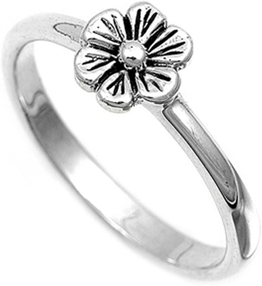 Sterling Silver Women's Simple Flower Ring Unique 925 Band 8mm New Sizes 4-12