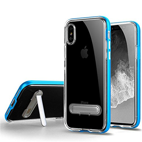 OWIKAR iPhone X Case, Crystal Clear Hard Ultra Slim Fit Anti Scratch Bumper with Magnetic Metal Kickstand Protective Case Cover for Apple iPhone X (Blue)