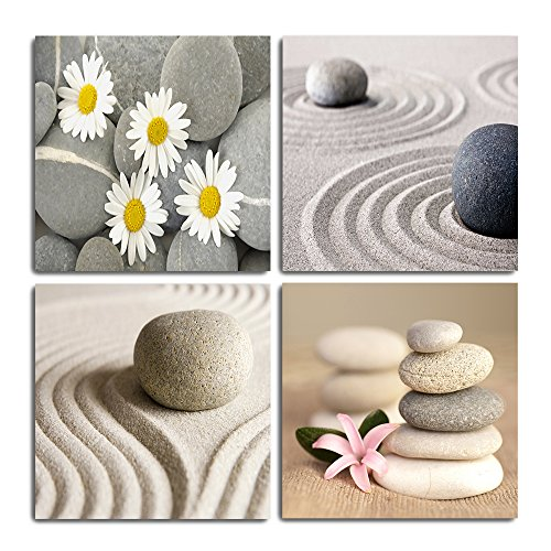 GOUPSKY Canvas Wall Art Zen Pianting Prints with Massage Stone Yellow Flower Daisy Still Life Decor Giclee Artwork White Sand Road Pictures Ready to Hang