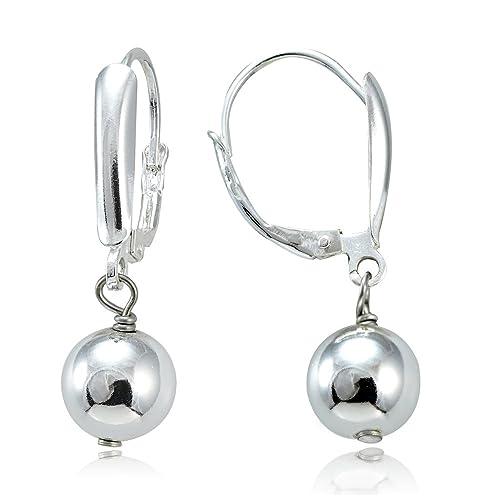 1e85e57ca Hoops & Loops Sterling Silver Dangling 8mm Bead Earrings, 3 Metal Options
