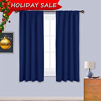 Amazon.com: Blackout Draperies Curtains Window Drapes - (Navy Blue ...