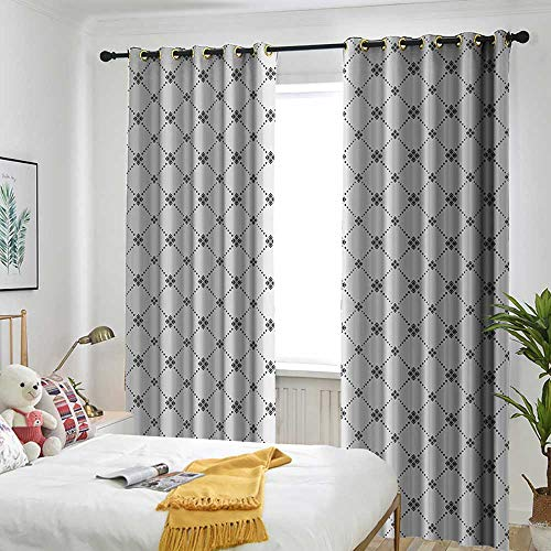 Geometric Decor Living Room/Bedroom Window Curtains Repeating Dotted Rhombuses and Flowers Modern Stylish Texture Pattern Embossed Thermal Weaved Blackout 84