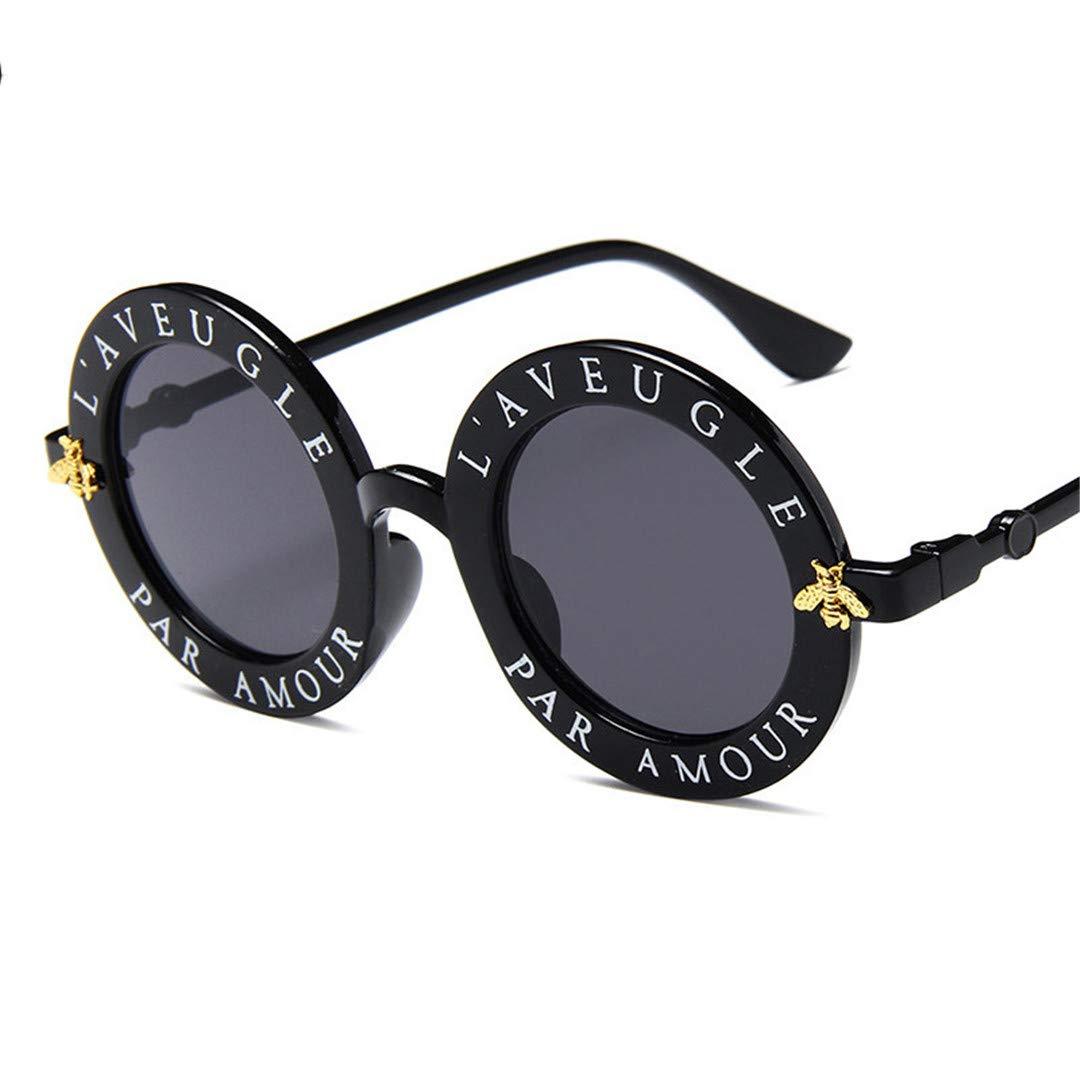 DETVLL Gafas de Sol Redondas para Mujer, Letras en inglés ...