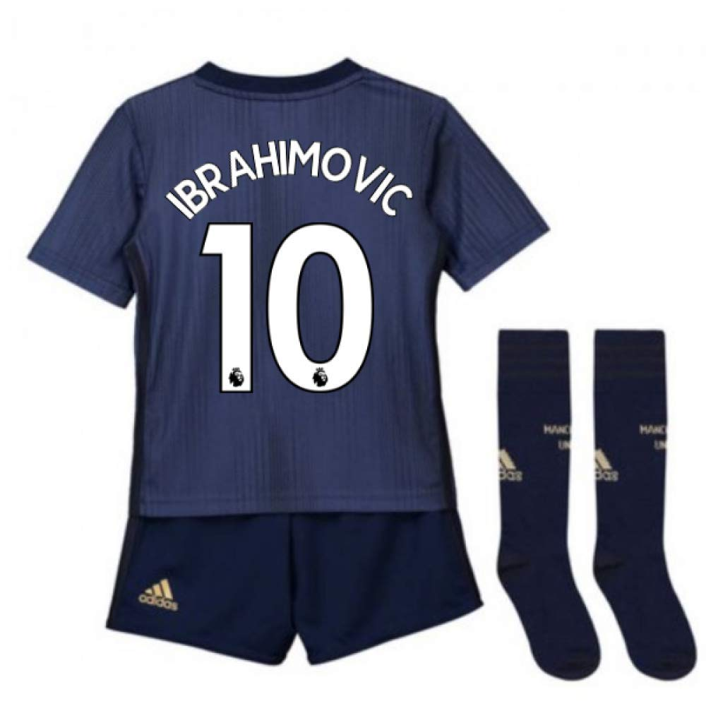 UKSoccershop 2018-2019 Man Utd Adidas Third Little Boys Mini Kit (Zlatan Ibrahimovic 10)