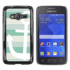 Exotic-Star ( Teal White Boat Stripes Pattern ) Fundas Cover Cubre Hard Case Cover para Samsung Galaxy Ace4 / Galaxy Ace 4 LTE / SM-G313F