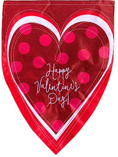 Briarwood Lane Valentine's Heart Applique House Flag Holiday Sculpted 28