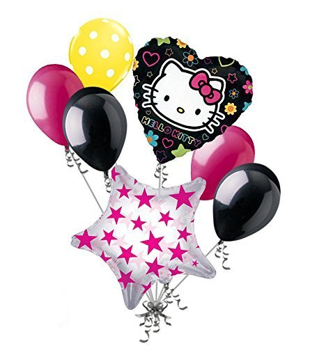 7 pc Hello Kitty Tween Balloon Bouquet Happy Birthday Party Decoration Gift Cat v2 by Jeckaroonie Balloons -