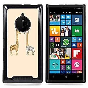 For Nokia Lumia 830 - Giraffe Zebra Savannah Art Drawing Childrens /Modelo de la piel protectora de la cubierta del caso/ - Super Marley Shop -