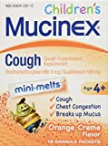 Mucinex Cough Mini Melts Expectorant and Cough Suppressant for Kids Orange, 12 Granule Packets
